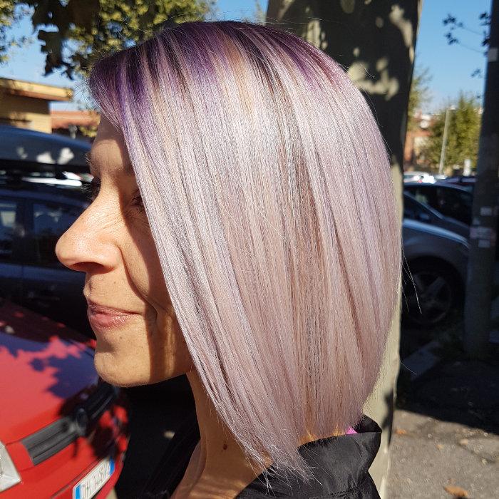 Bottone parrucchiere colore viola